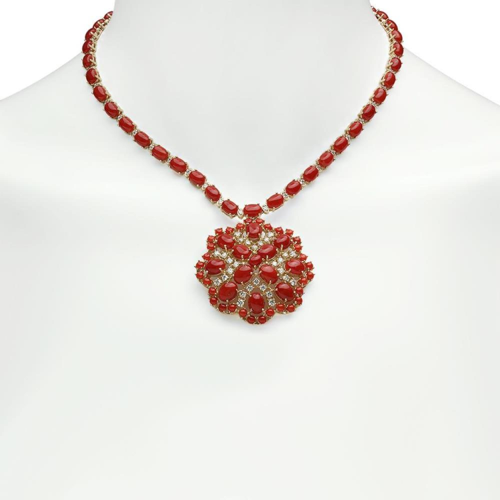 14K Gold 46.11ct Coral 3.00ct Diamond Necklace
