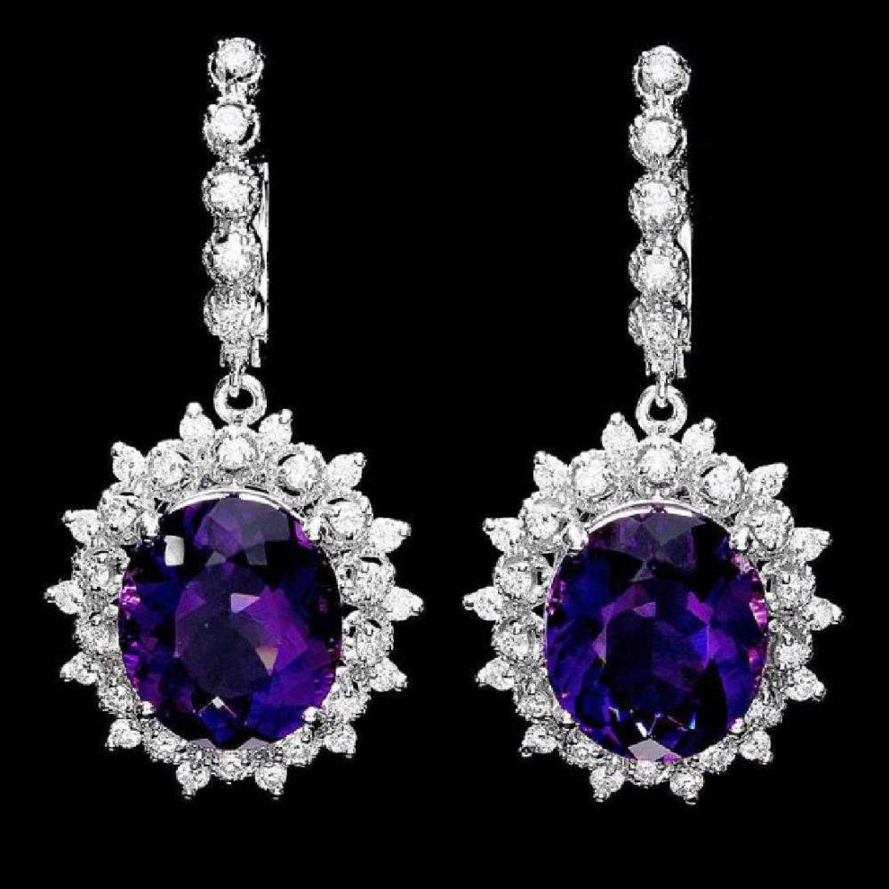 14K White Gold 12.50ct Amethyst and 1.65ct Diamond Earrings