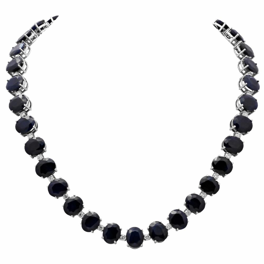 14k White Gold 145.51ct Sapphire 4.31ct Diamond Necklace