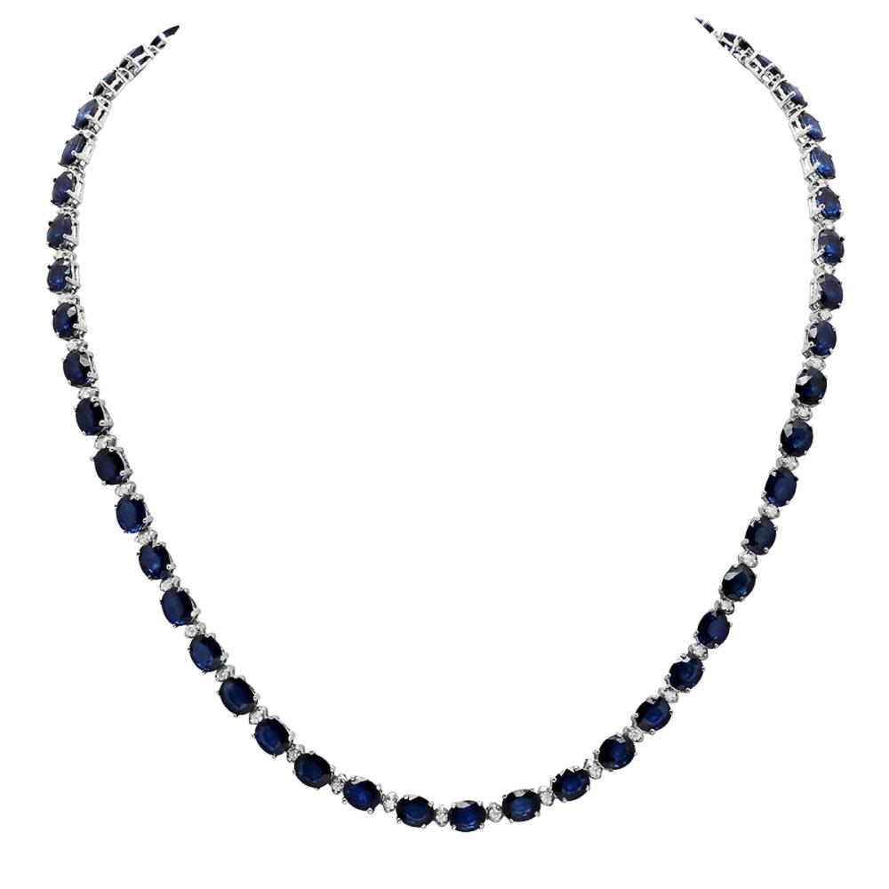 14k White Gold 33.56ct Sapphire 1.70ct Diamond Necklace