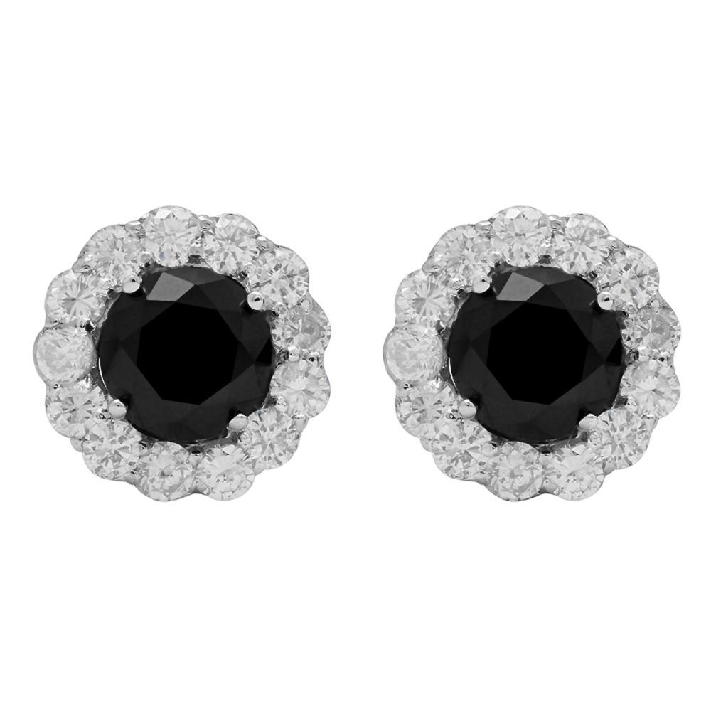 14k White Gold 2.82ct & 1,76ct Diamond Earrings