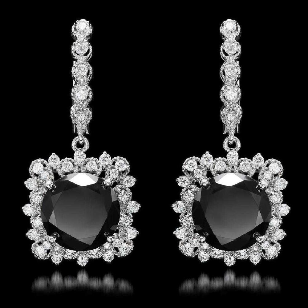 14K White Gold 11.88ct Fancy Black Diamond and 1.66ct Diamond Earrings