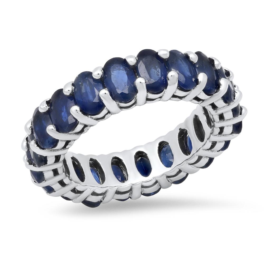 14K White Gold and 6.86ct Sapphire Band