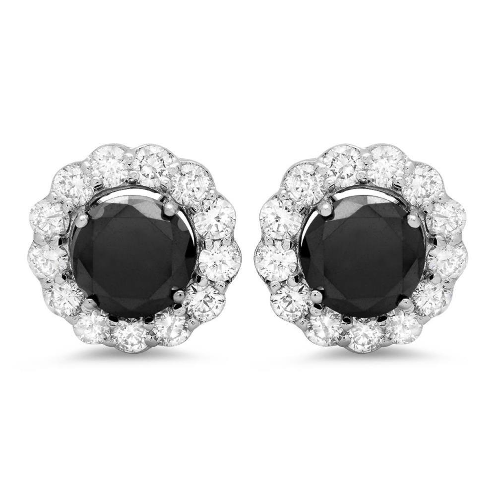 14K Gold 2.99ct Fancy Color Diamond 1.71cts Diamond Earrings