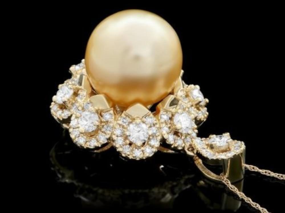 14K Gold South Sea Pearl and Diamond Pendant