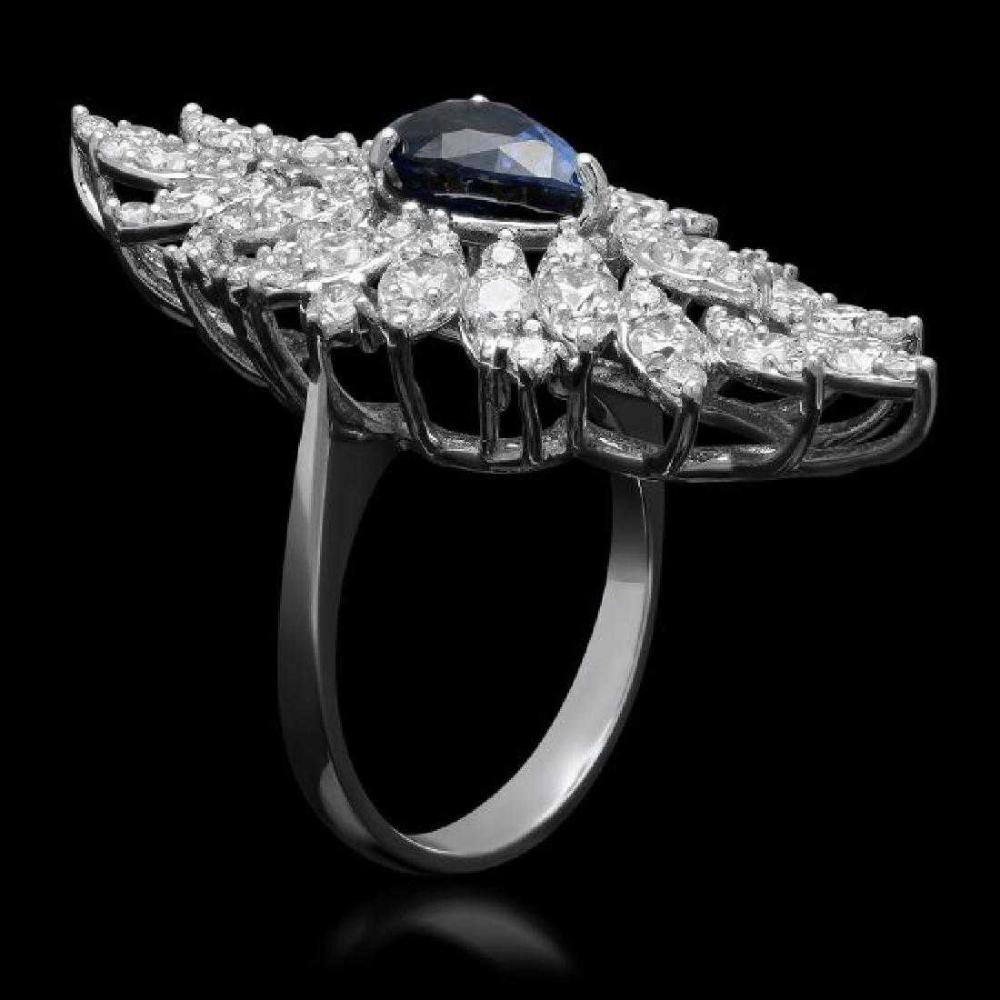 Lot 1: 14K White Gold 2.60ct Sapphire and 3.26ct Diamond Ring