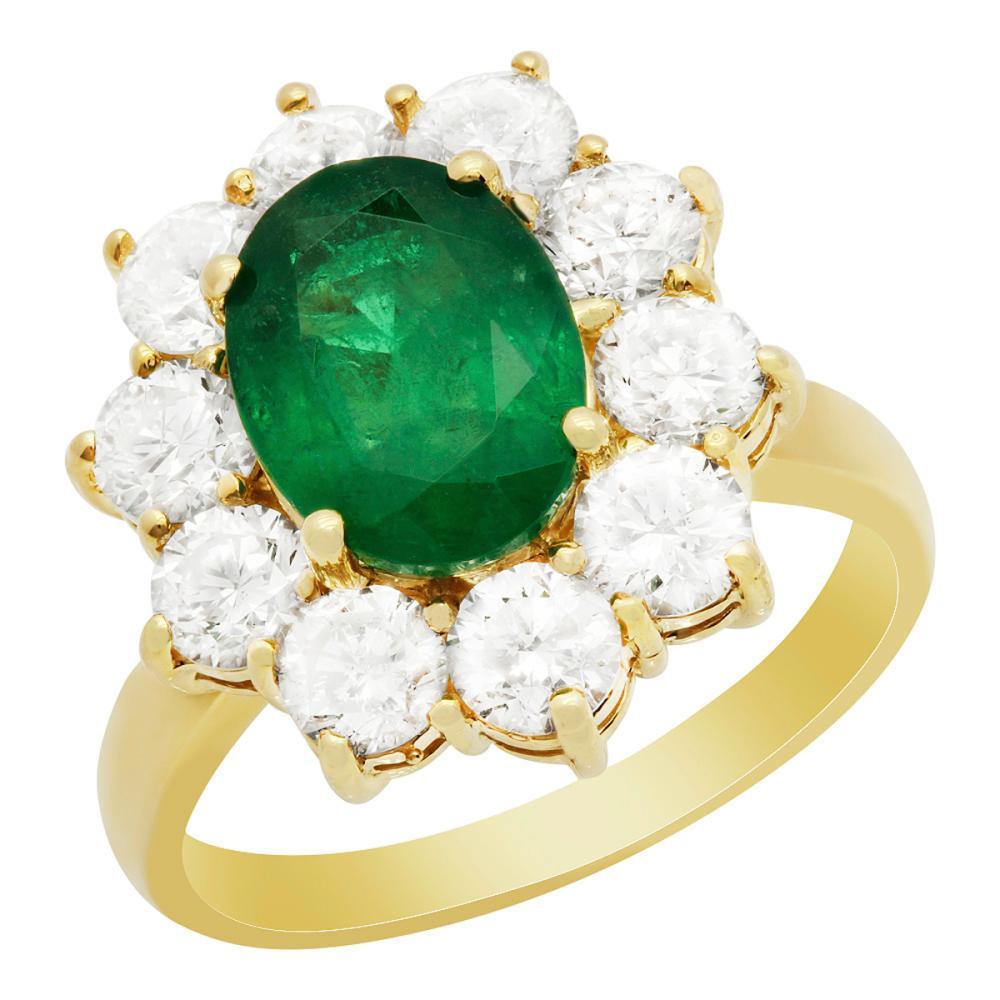 14k Yellow Gold 2.26ct Emerald 2.37ct Diamond Ring