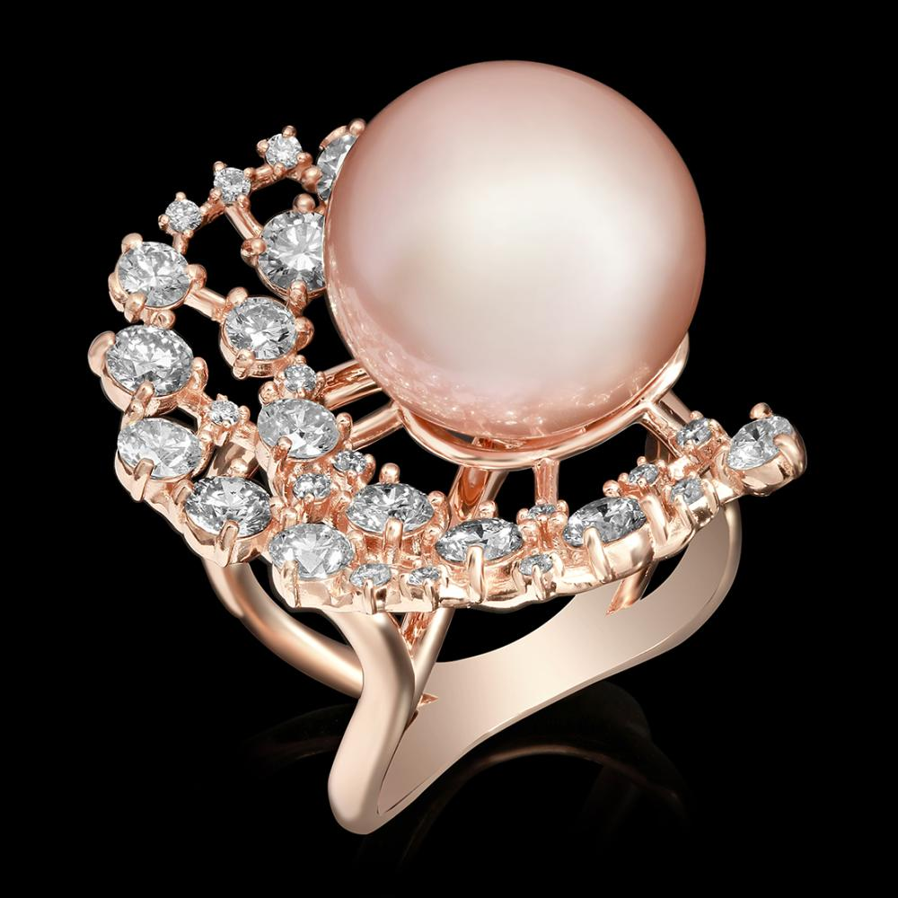 14k Rose Gold 15mm Pearl 2.24ct Diamond Ring