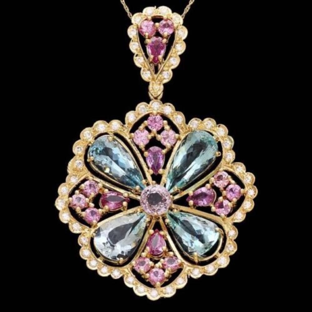 14K Gold 11.86ct Aquamarine 6.46ct Sapphire and Spinel 1.41ct Diamond Pendant
