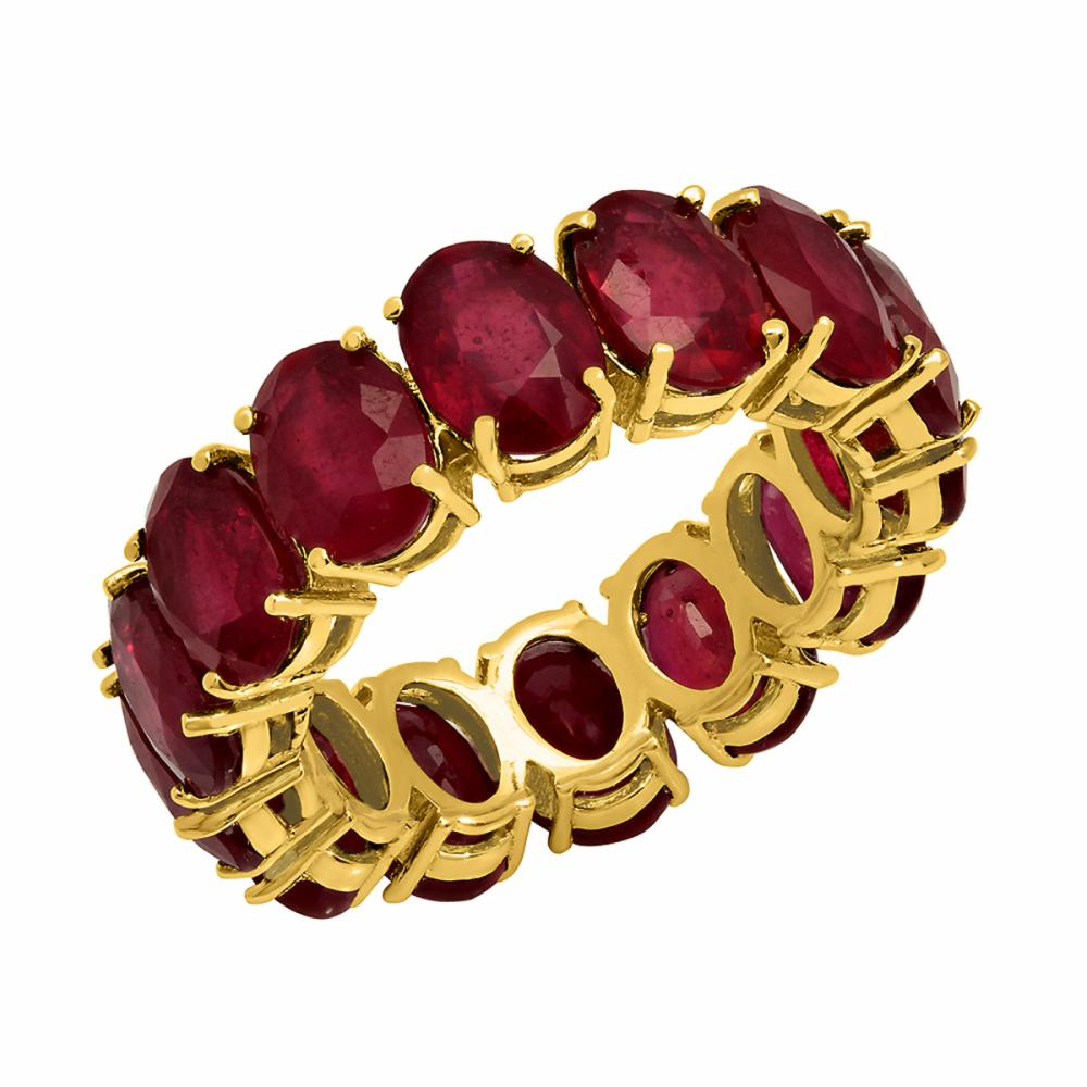14K Gold 13.30ct Ruby Eternity Band