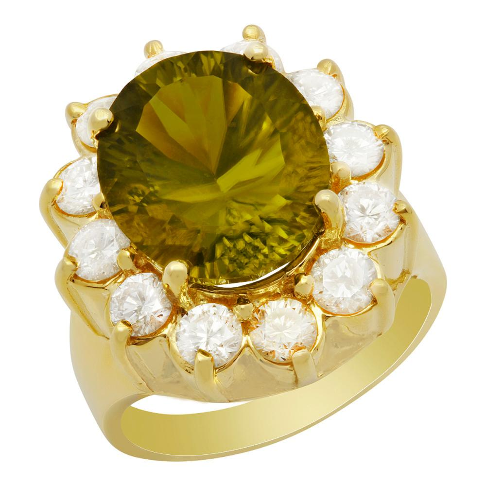 14k Yellow Gold 7.69ct Peridot 1.82ct Diamond Ring