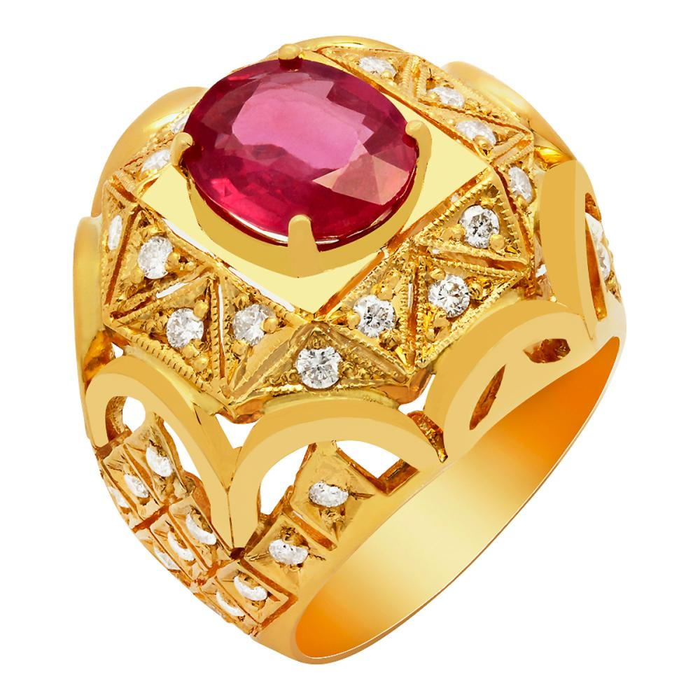 14K Gold 3.90ct Ruby and 1.08ct Diamond Ring