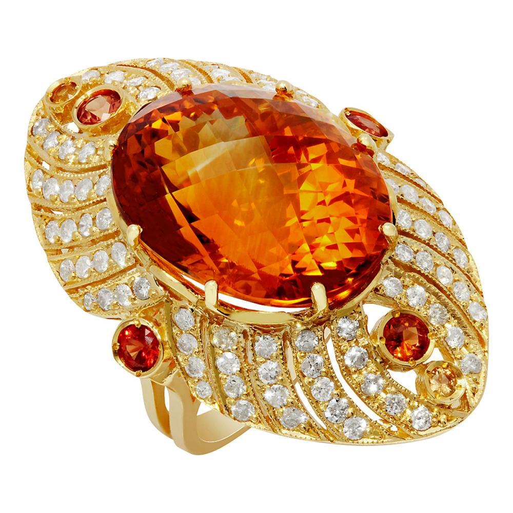 14k Yellow Gold 25.16ct Citrine 0.95ct Sapphire 1.75ct Diamond Ring