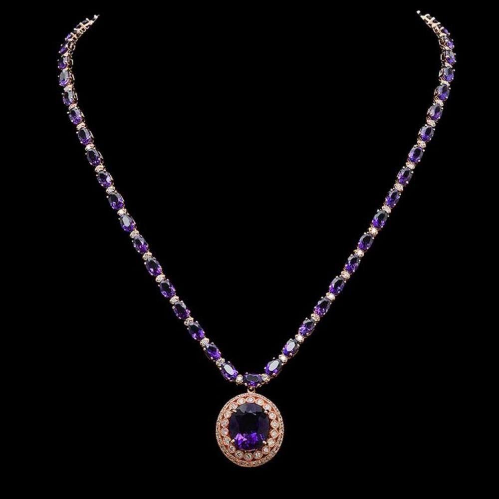 14K Gold 29.87ct Amethyst & 2.52ct Diamond Necklace