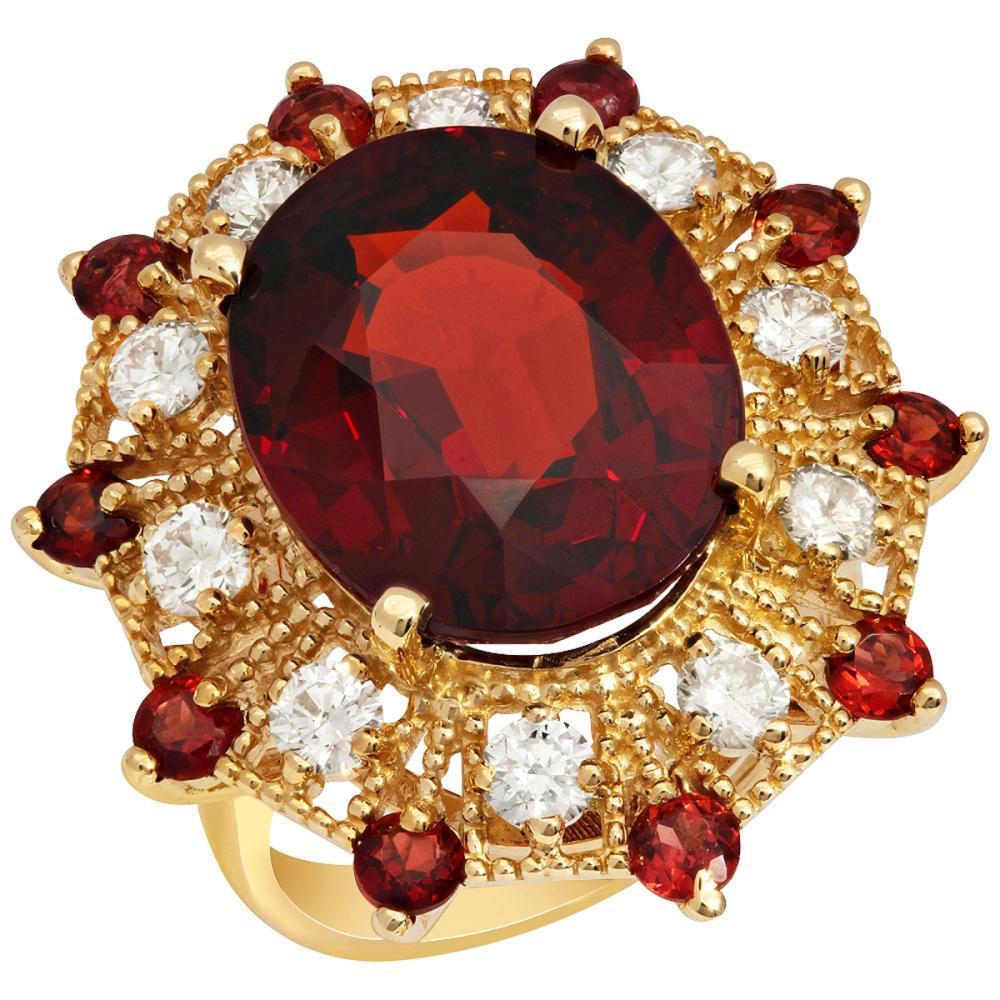 14k Yellow Gold 16.40ct & 1.00ct Garnet 1.19ct Diamond Ring