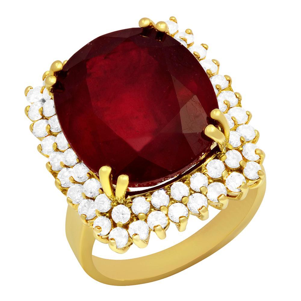 14k Yellow Gold 15.10ct Ruby 1.50ct Diamond Ring