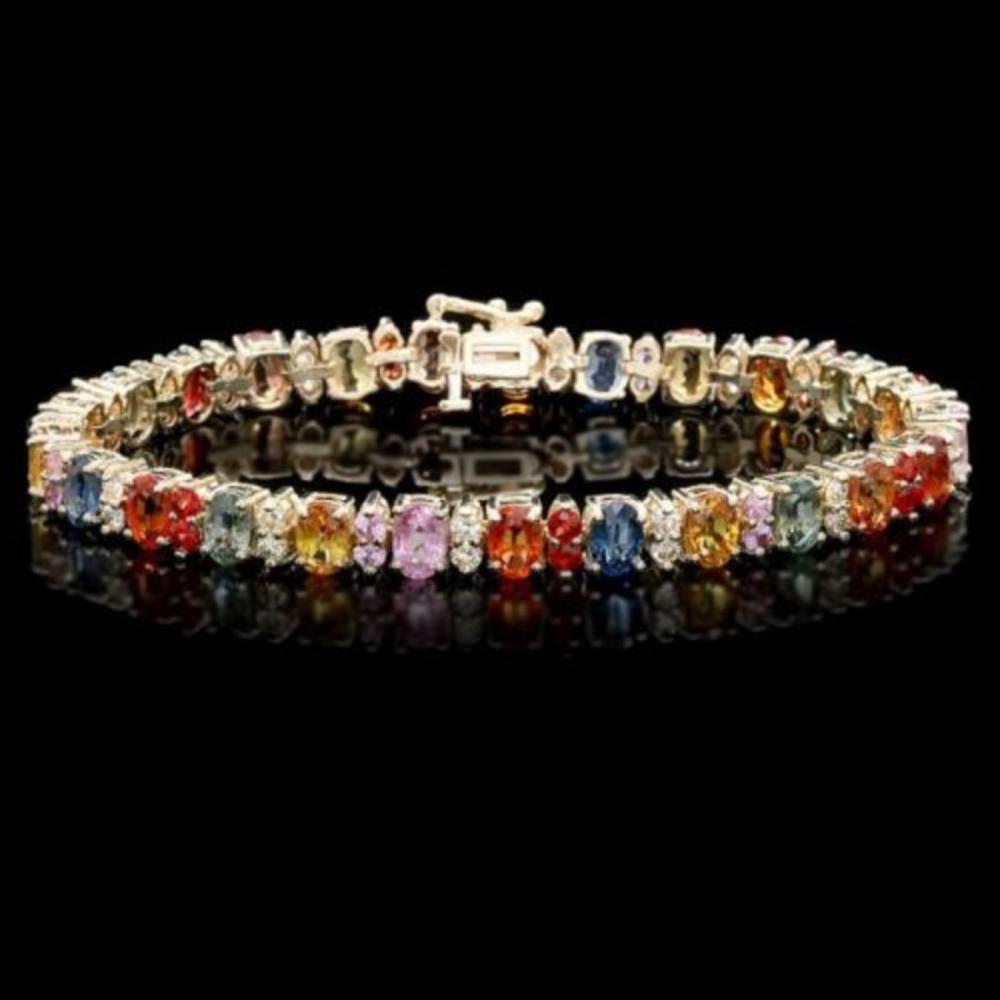 14K Gold 20.45ct Sapphire 1.40ct Diamond Bracelet