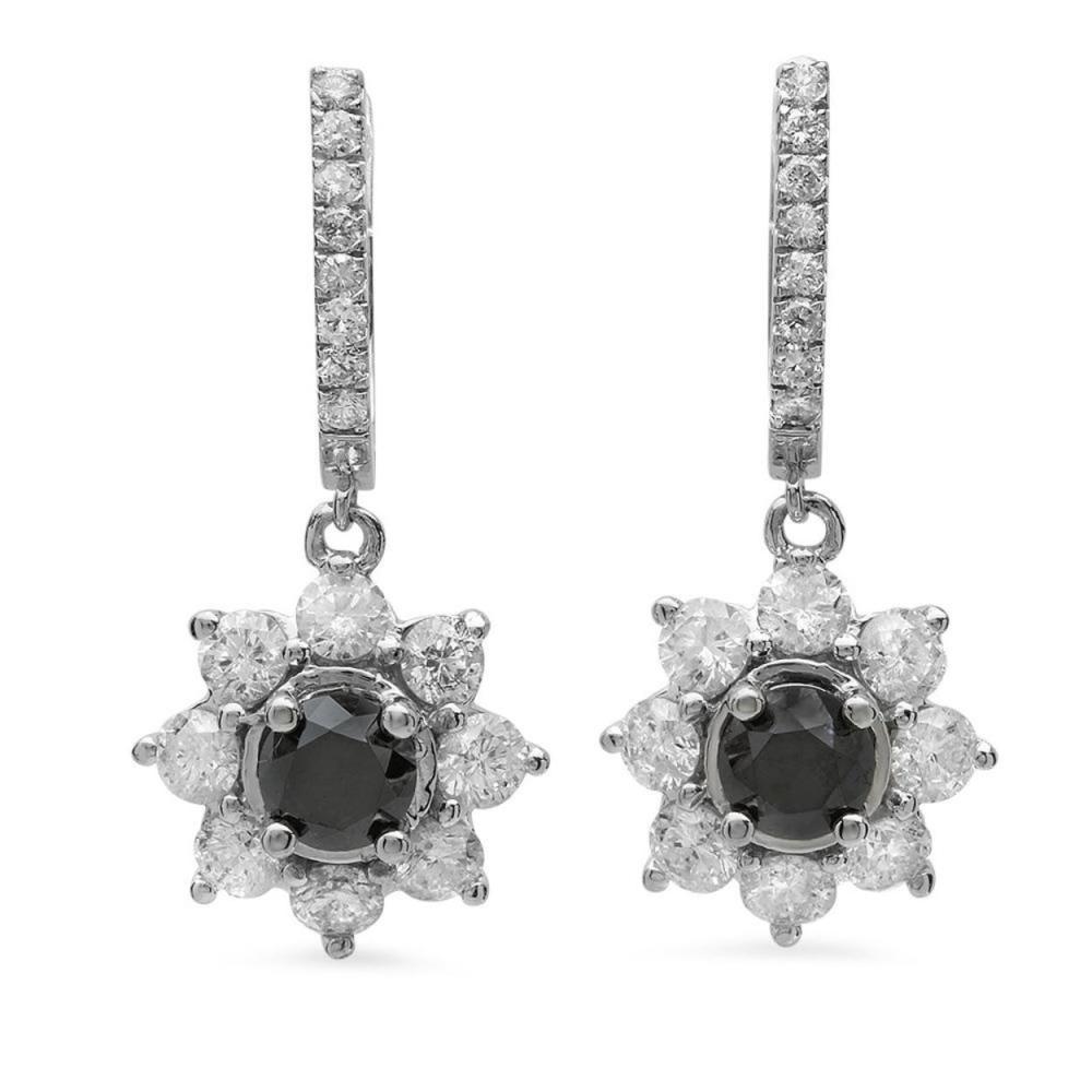 14K Gold 2.71ct Fancy Color Diamond 3.70ct Diamond Earrings