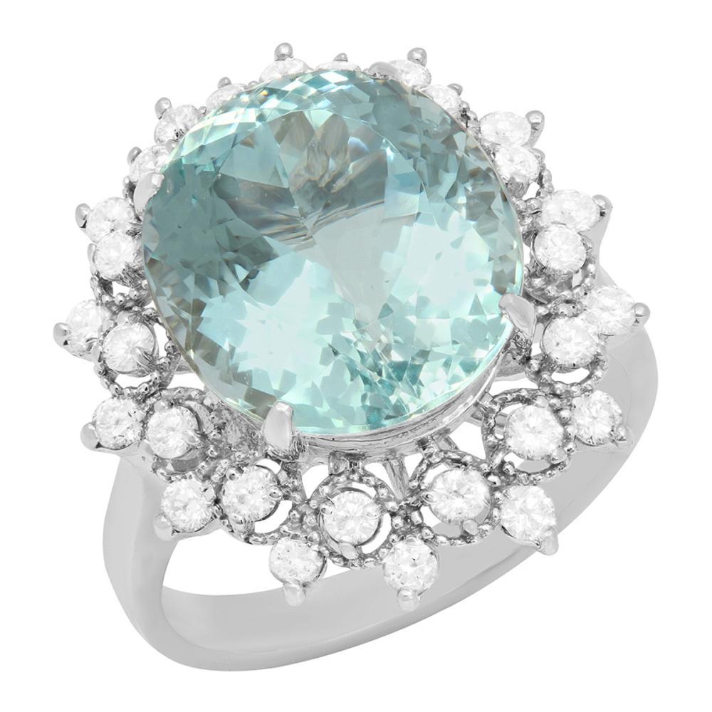 14K Gold 8.92ct Aquamarine and 0.87ct Diamond Ring