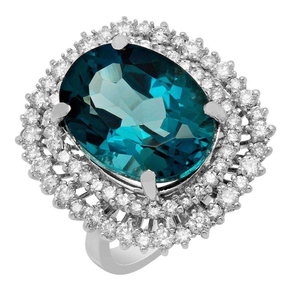 14k White Gold 16.12ct Blue Topaz 1.65ct Diamond Ring
