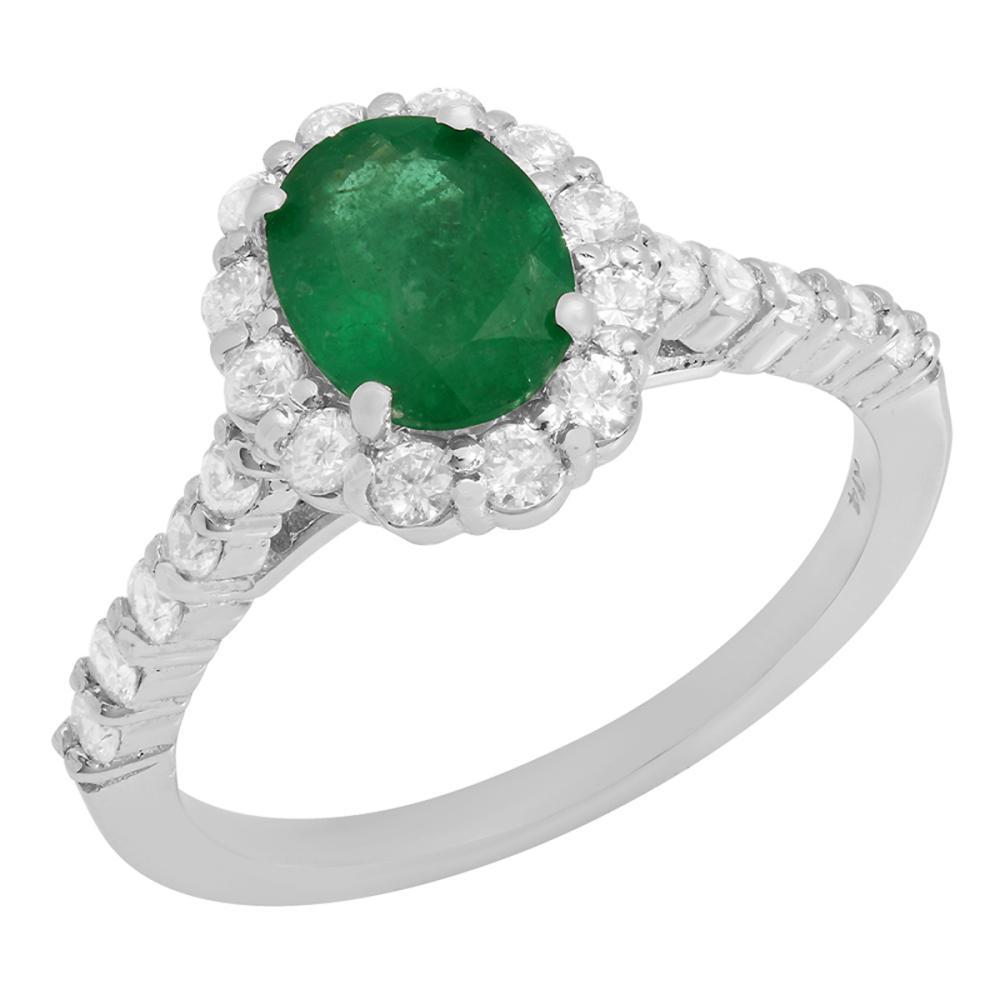 14k White Gold 1.19ct Emerald 0.70ct Diamond Ring