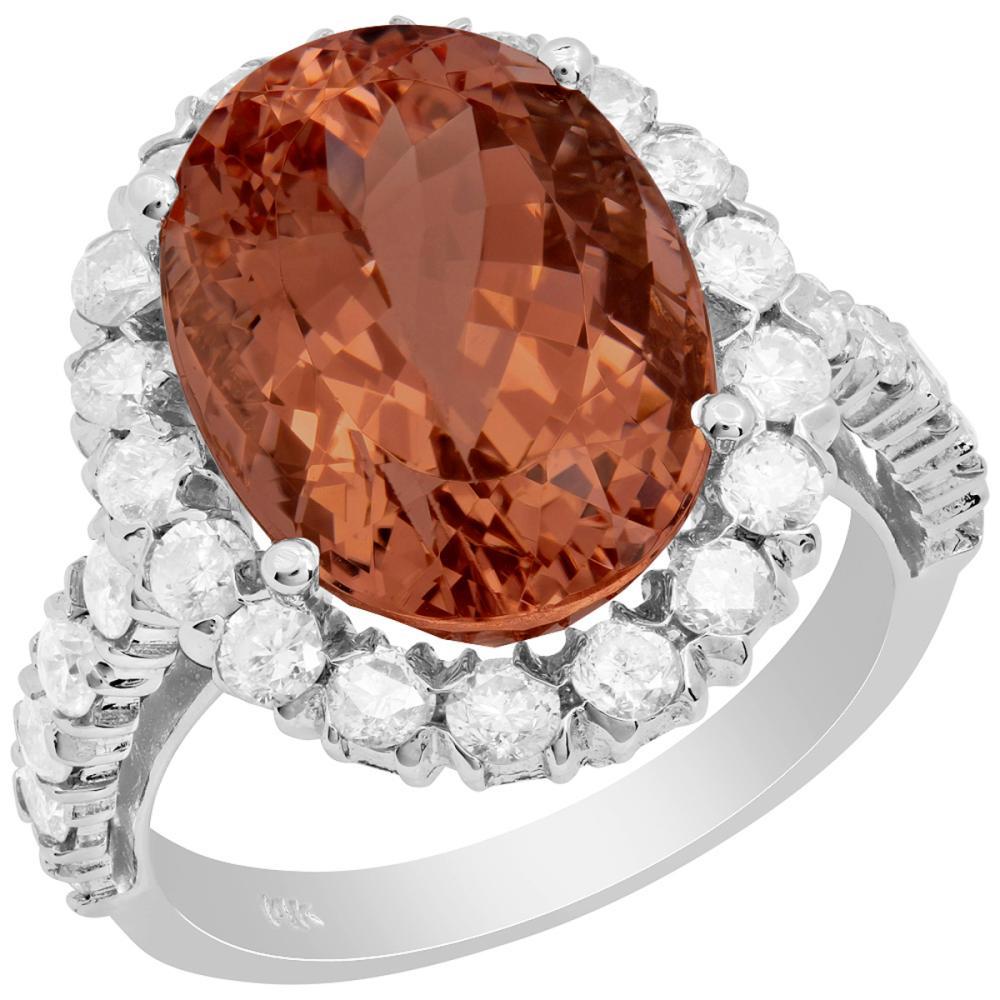14k White Gold 9.09ct Morganite 1.51ct Diamond Ring