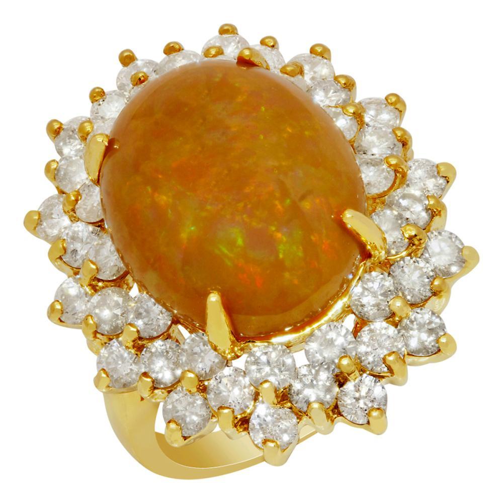 14k Yellow Gold 6.81ct Opal 2.75ct Diamond Ring