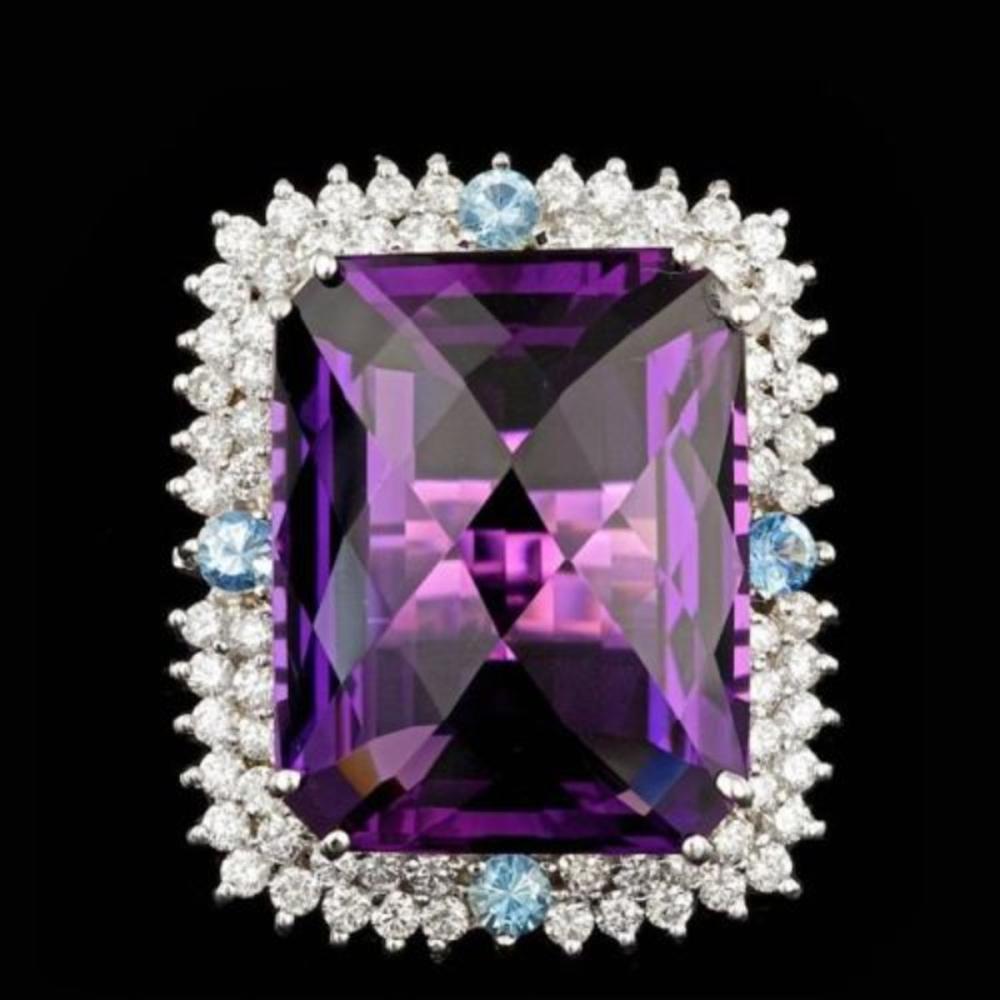 14K White Gold 26.07ct Amethyst 0.52ct Aquamarine and 1.86ct Diamond Ring