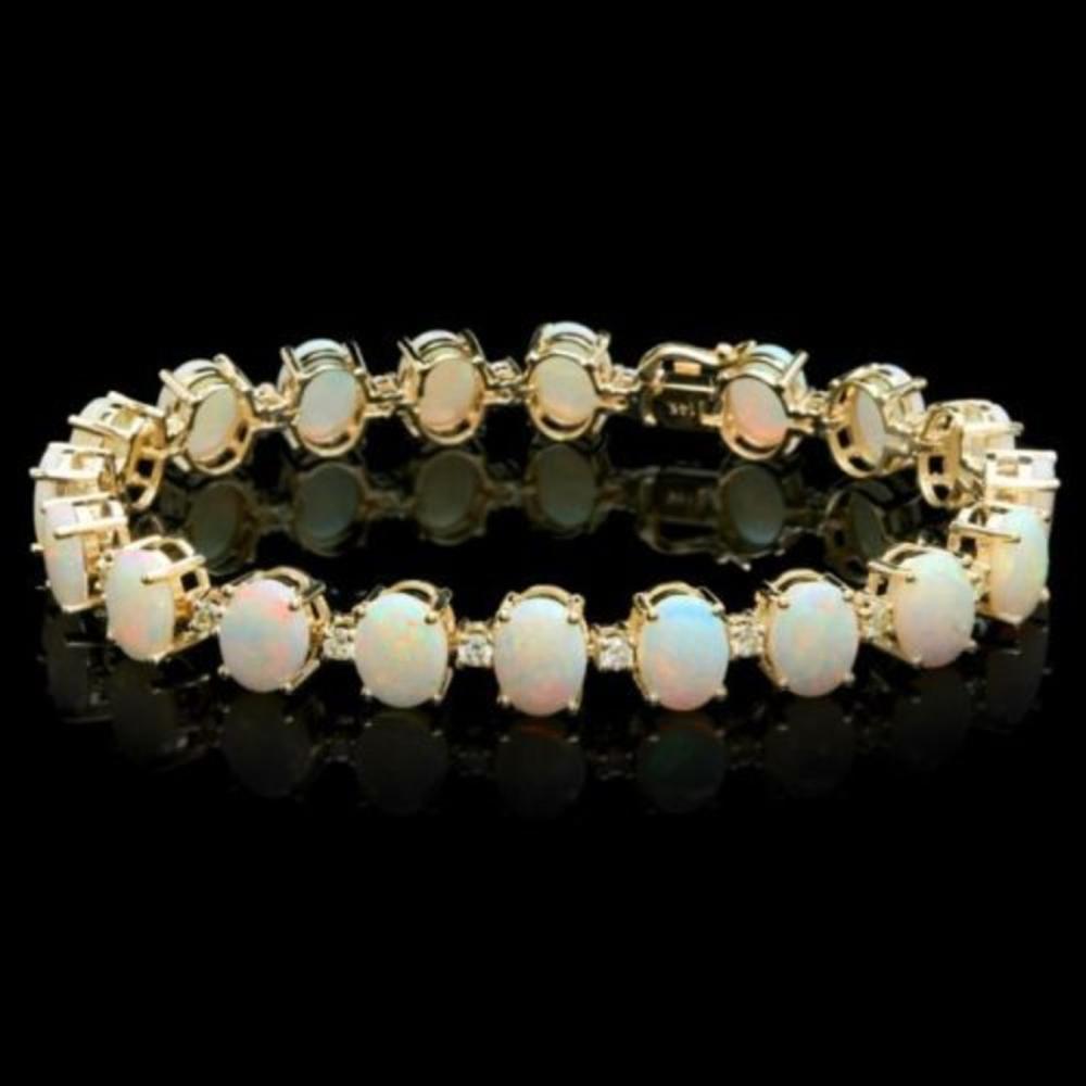 14K Gold 18.21ct Opal 1.53ct Diamond Bracelet