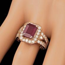 Lot 14: 14K Rose Gold 4.17ct Ruby and 1.32ct Diamond Ring