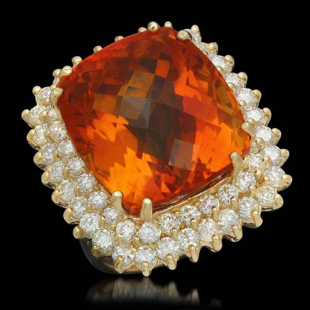 14K Yellow Gold 27.60ct Citrine and 2.89ct Diamond Ring