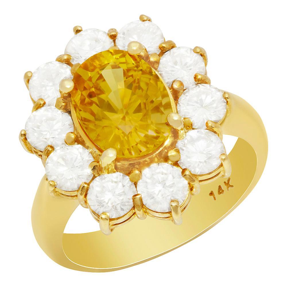 14k Yellow Gold 3.50ct Yellow Sapphire 2.18ct Diamond Ring