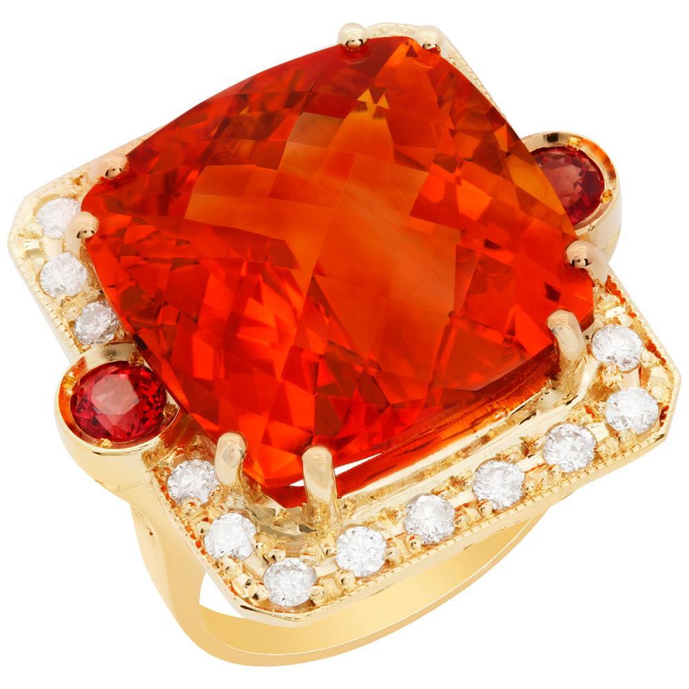 14k Yellow Gold 26.11ct Citrine 1.15ct Orange Sapphire 0.96ct Diamond Ring