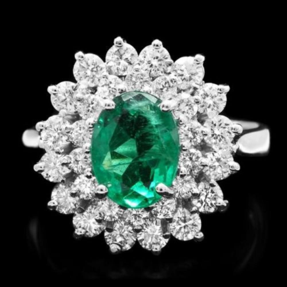 14K White Gold 1.47ct Emerald and 1.32ct Diamond Ring
