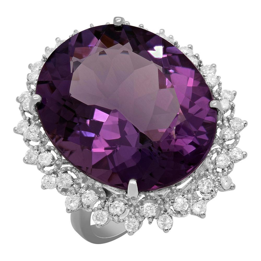 14k White Gold 23.10ct Amethyst 0.89ct Diamond Ring