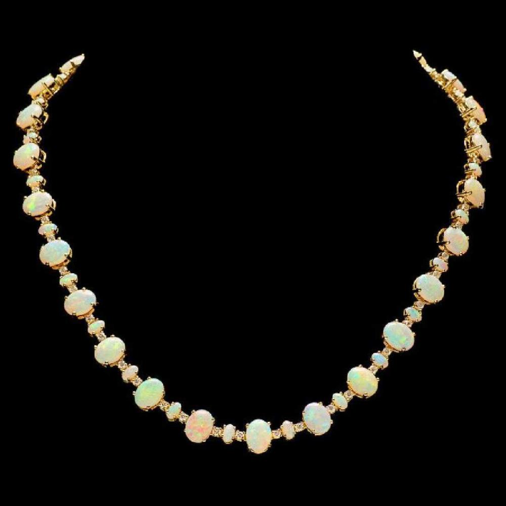 14K Yellow Gold 31.91ct Opal and 2.22ct Diamond Necklace