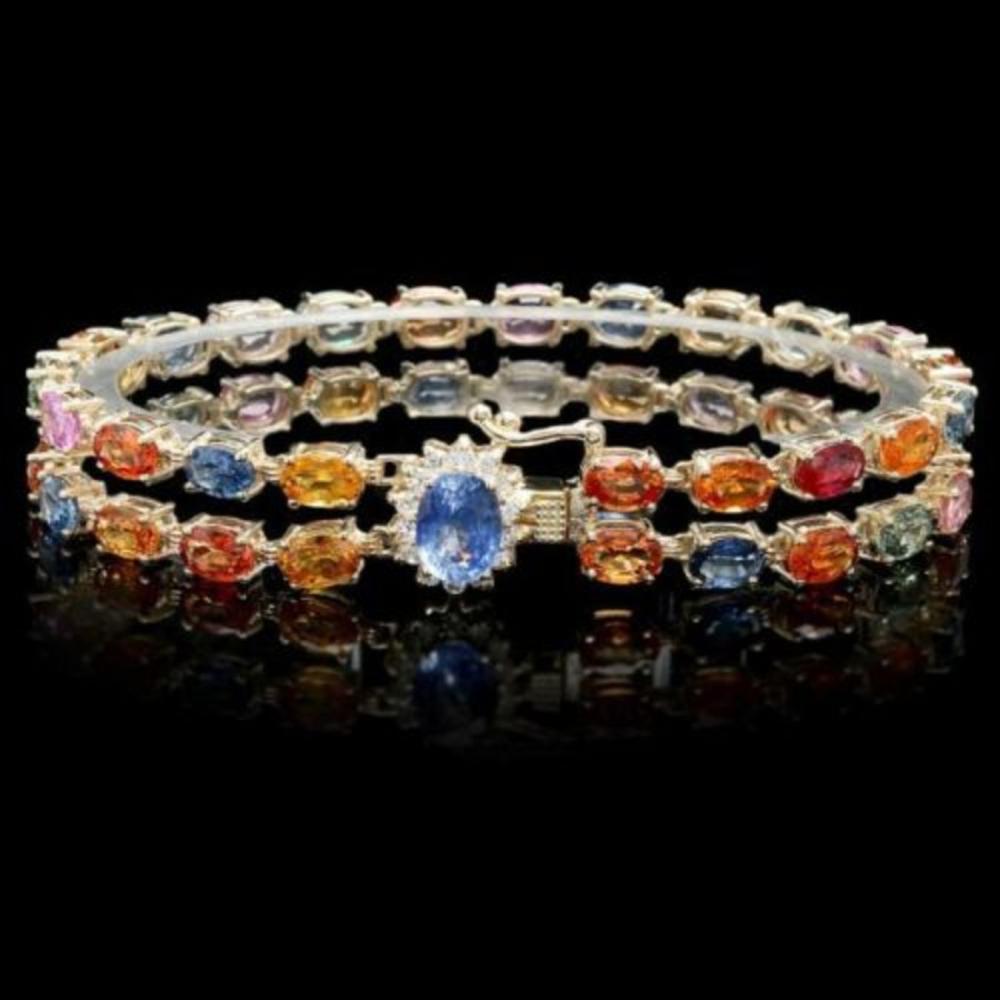 14K Gold 26.61ct Sapphire 1.35ct Diamond Bracelet