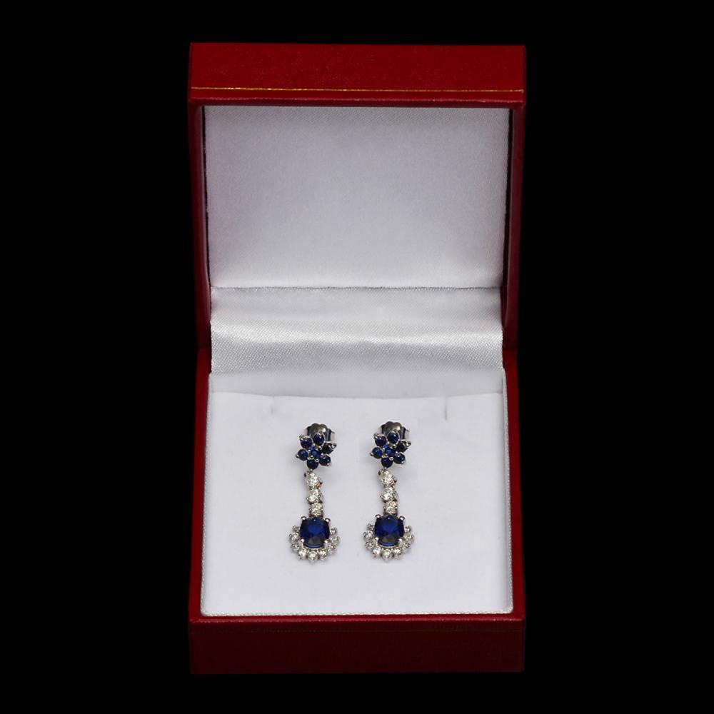 Lot 16: 14k White Gold 3.28ct Sapphire 1.50ct Diamond Earrings