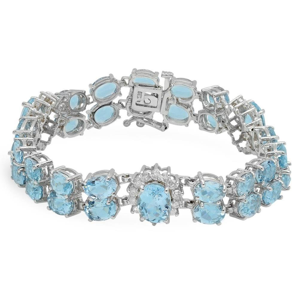 14K Gold 24.37ct Aquamarine 1.59ct Diamond Bracelet