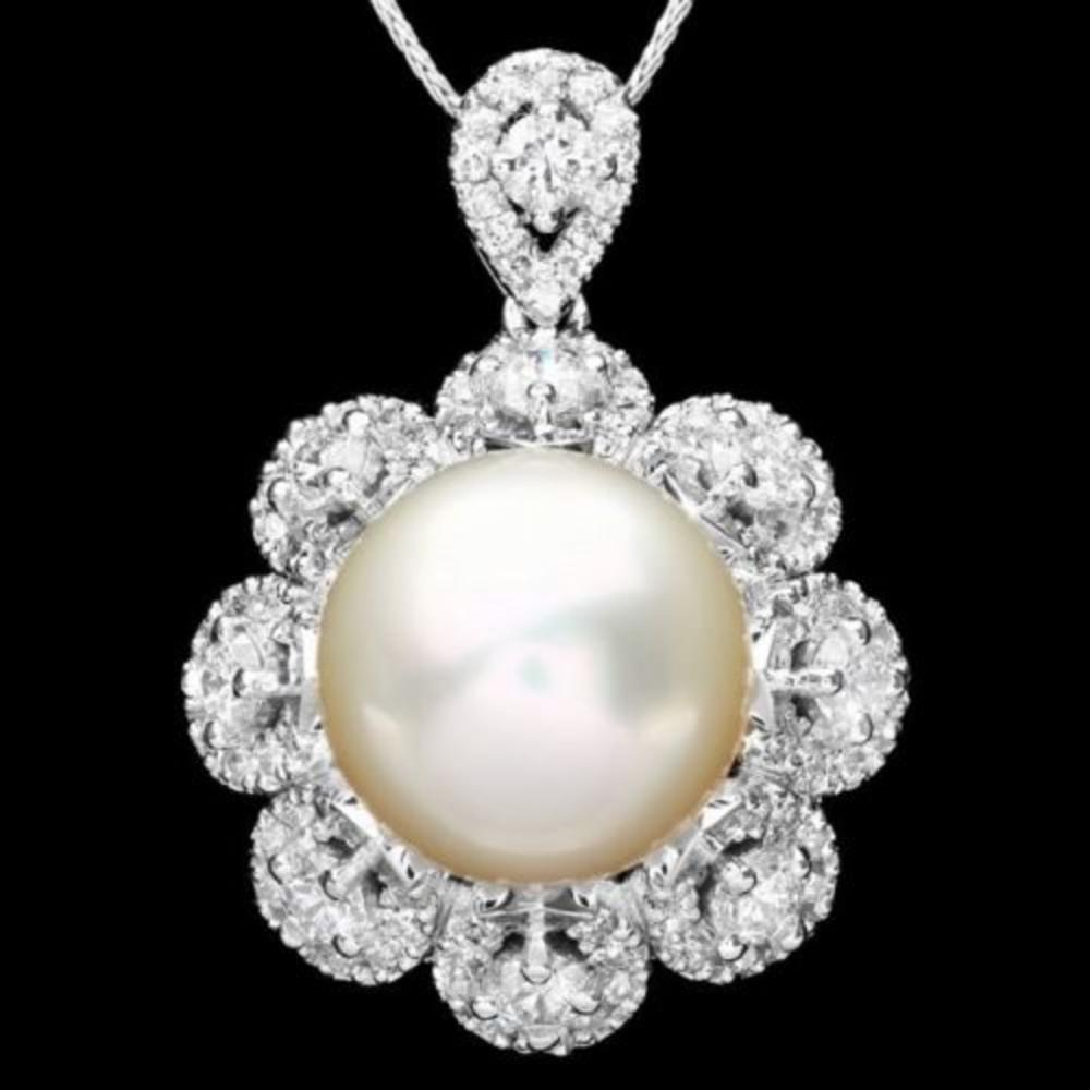 14K Gold 14mm South Sea Pearl and 3.16ct Diamond Pendant