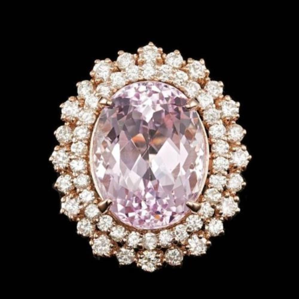 14K Rose Gold 13.72ct Kunzite and 1.86ct Diamond Ring