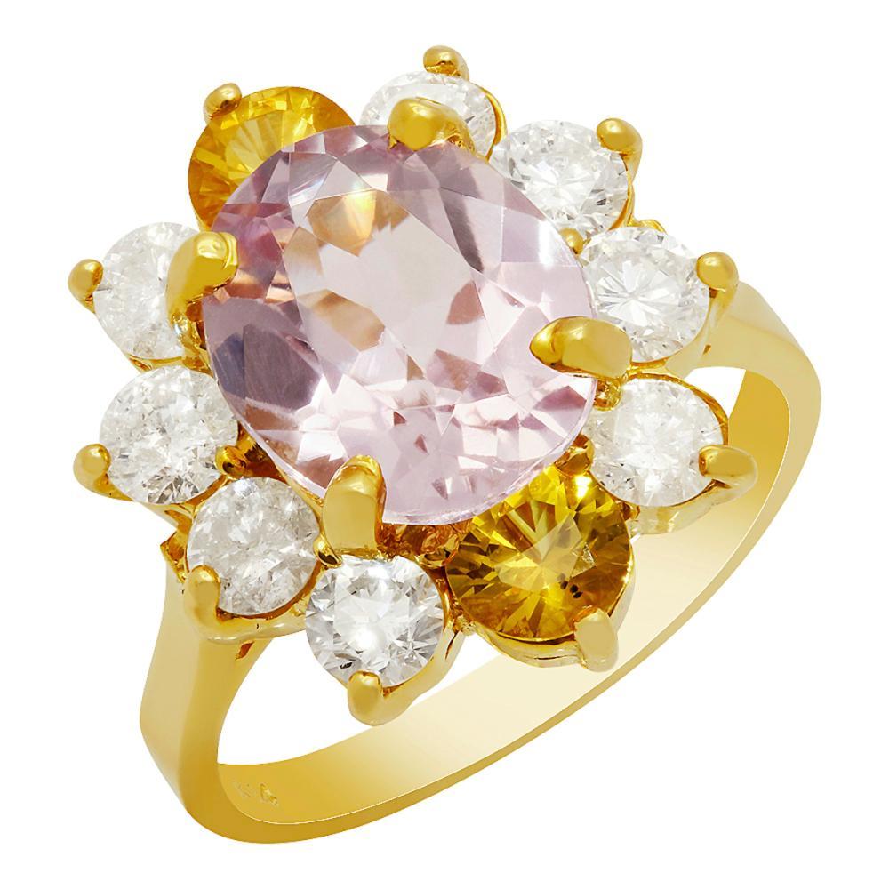 14k Yellow Gold 3.59ct Kunzite 0.98ct Yellow Sapphire 1.34ct Diamond Ring