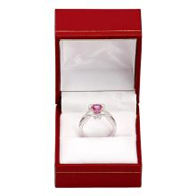 Lot 17: 14k White Gold 1.00ct Pink Sapphire 0.68ct Diamond Ring
