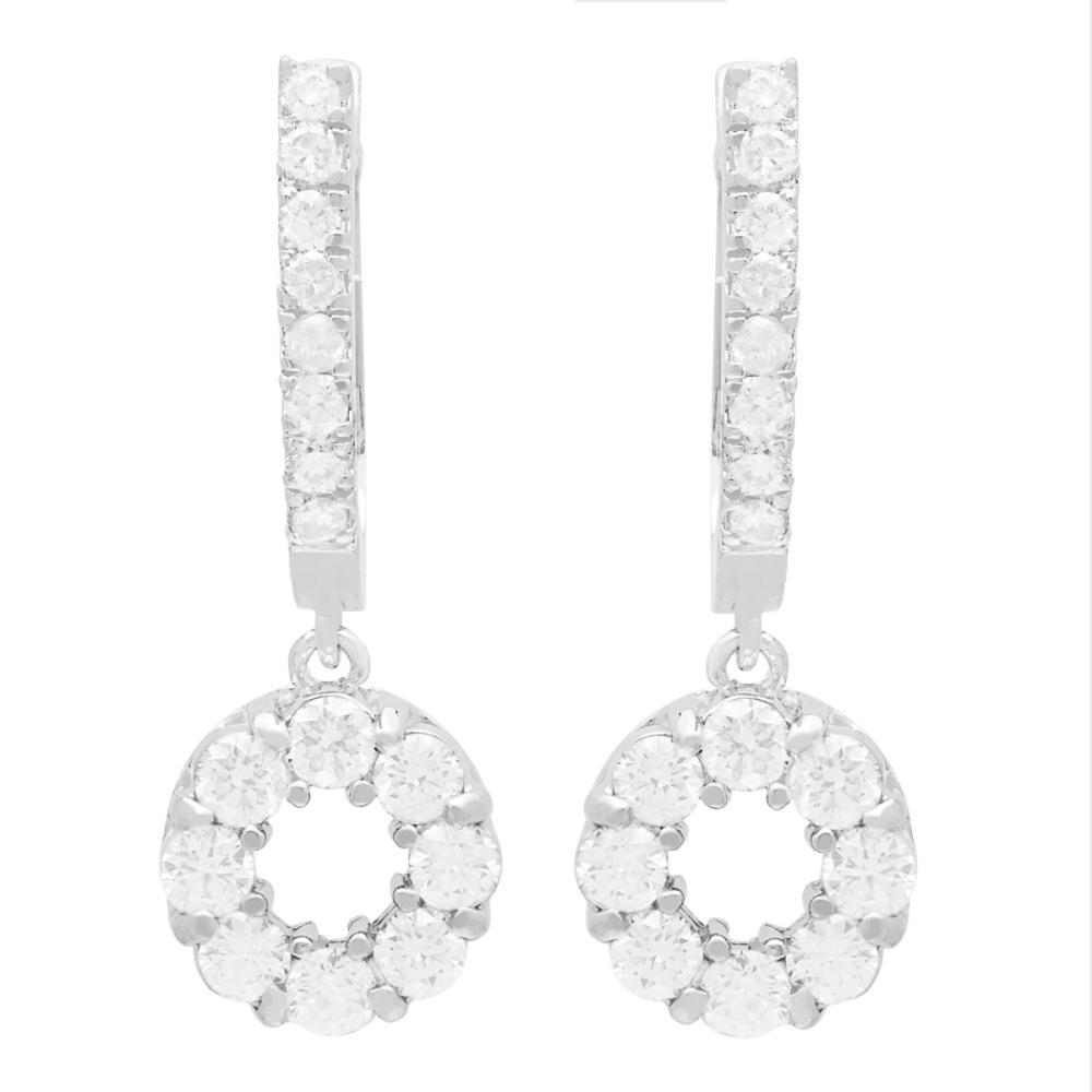 14k White Gold 1.79ct Diamond Earrings
