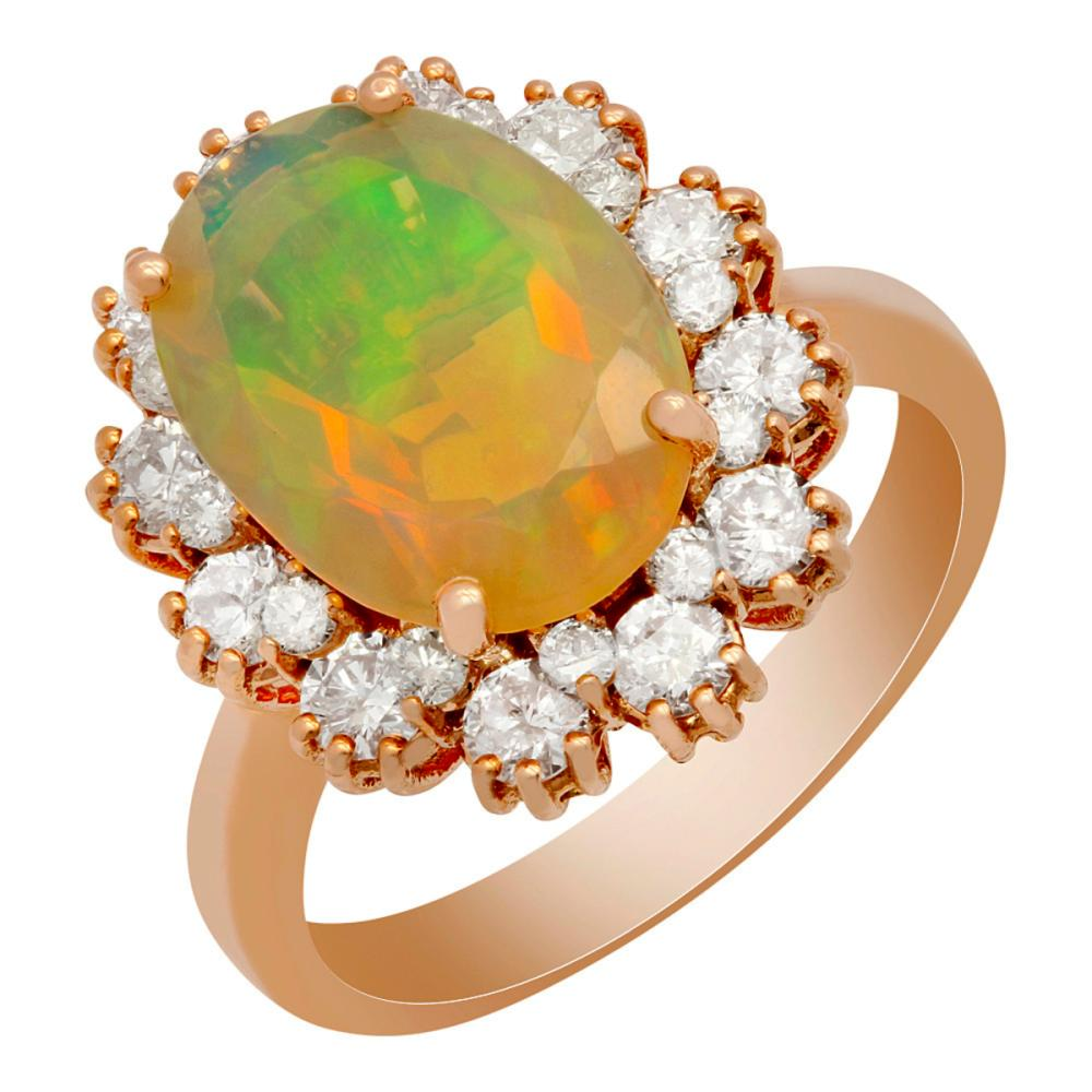 14k Rose Gold 2.56ct Opal 1.16ct Diamond Ring