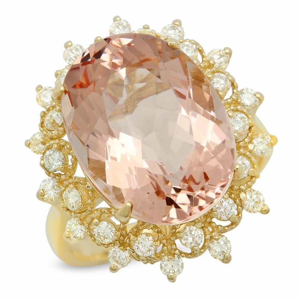 14K Yellow Gold 9.58ct Morganite and 0.74ct Diamond Ring