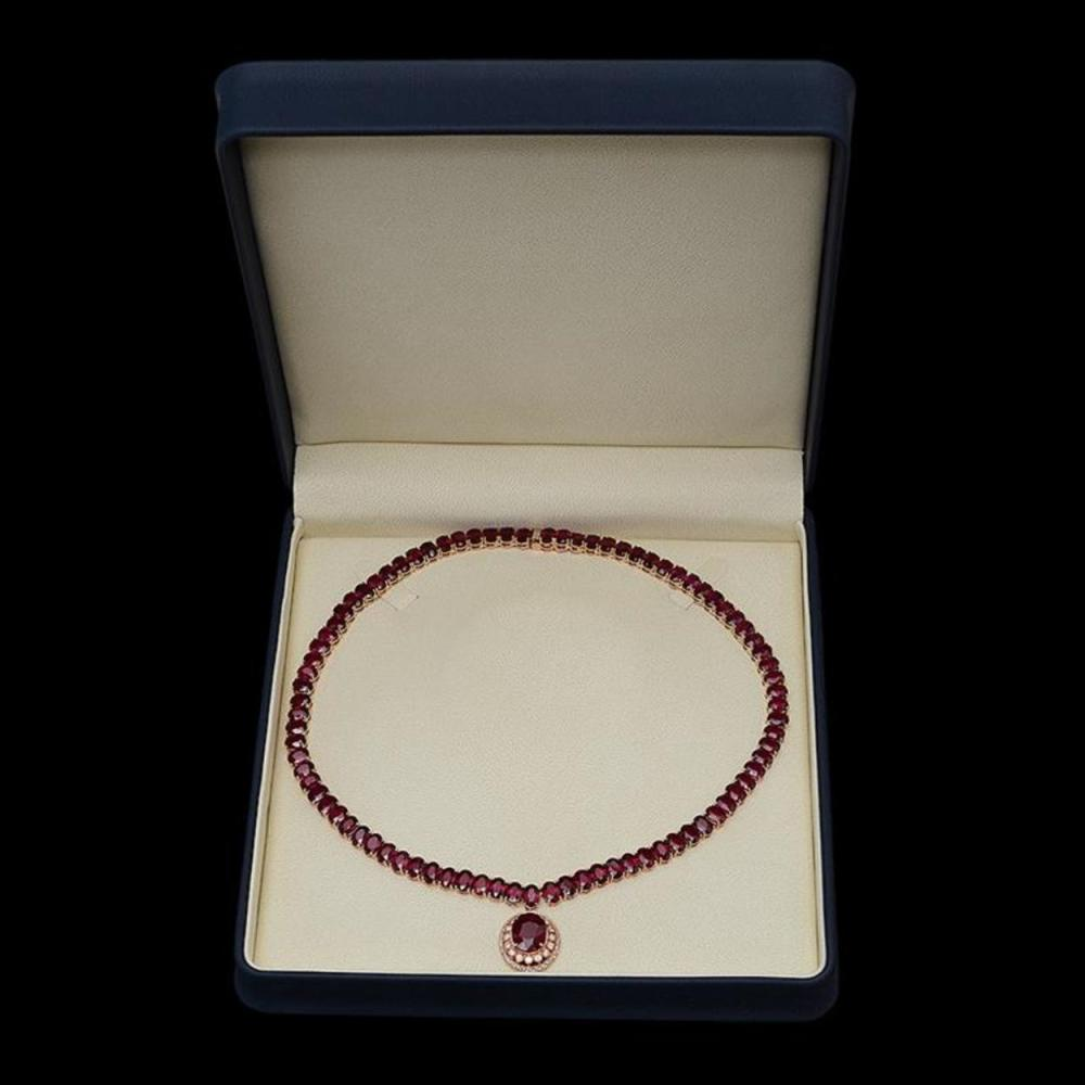 Lot 18: 14K Gold 115.49ct Ruby 1.38ct Diamond Necklace