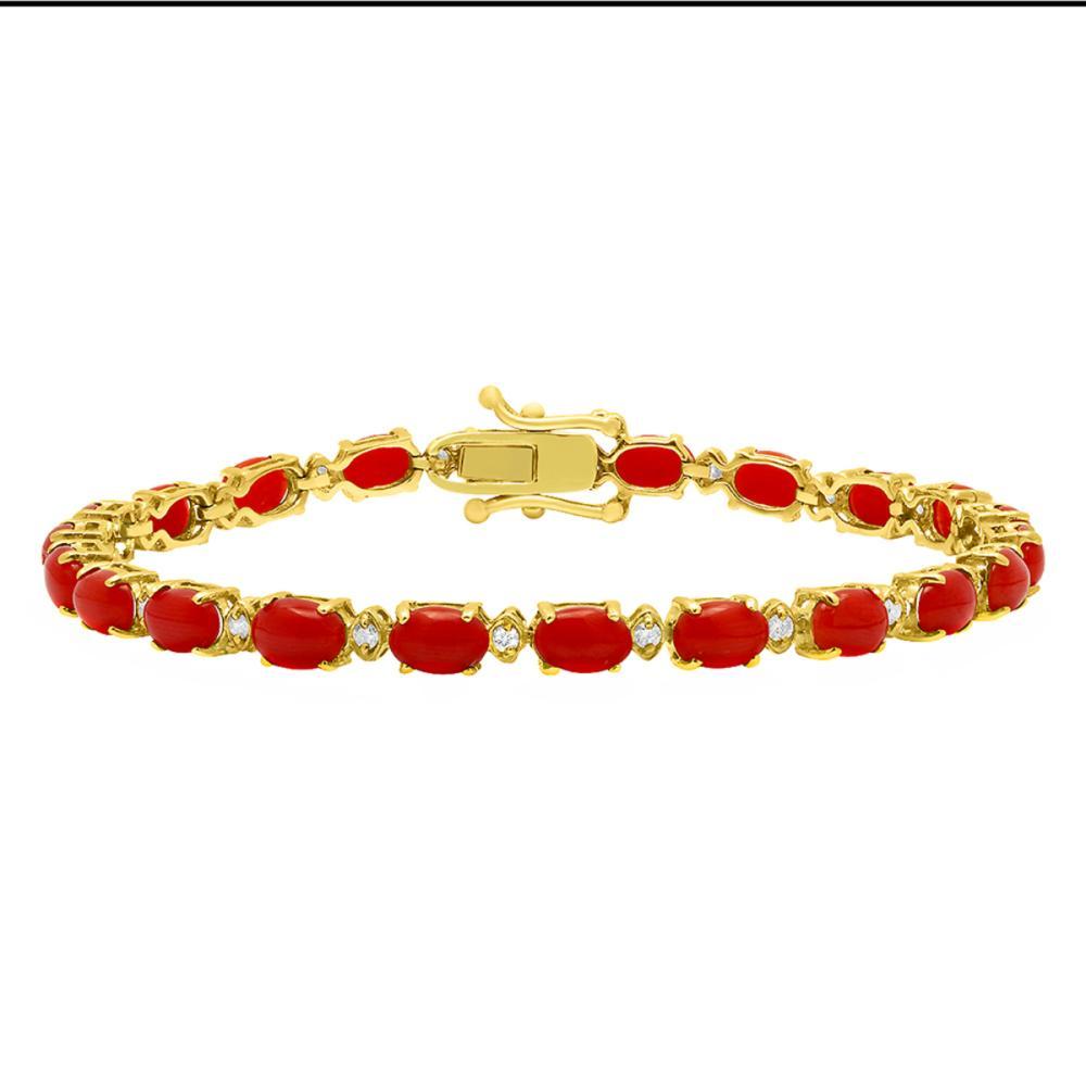 14k Yellow Gold 7.51ct Coral 0.51ct Diamond Bracelet