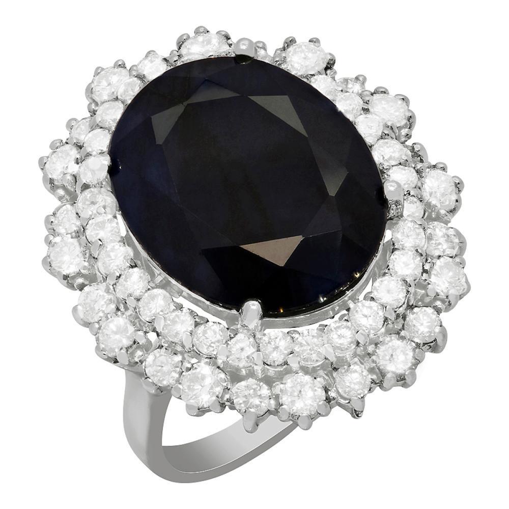 14k White Gold 12.31ct Sapphire 1.91ct Diamond Ring