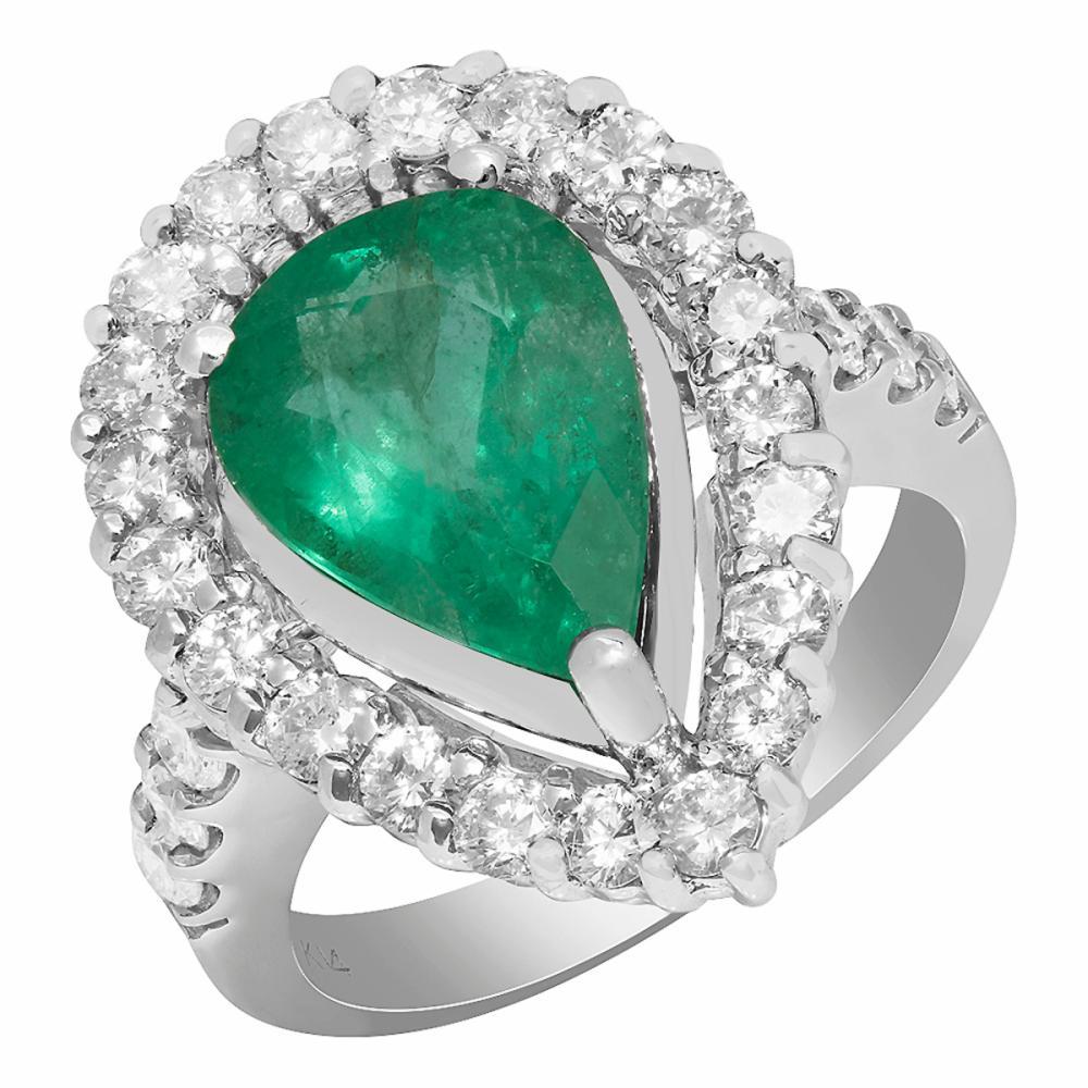 14k White Gold 3.71ct Emerald 1.39ct Diamond Ring
